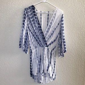 TOBI Blue & White Tie-Dye Romper